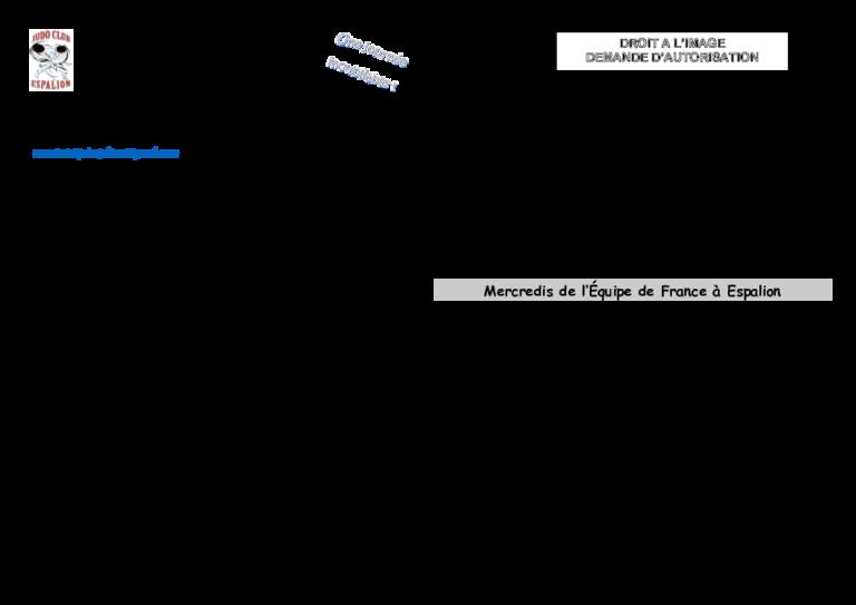 Autorisation Parentale Droit A L Image Judo Club Espalionnais